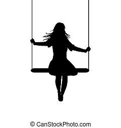 silhouette, jeune, oscillation, femme