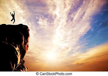 silhouette, joie, sauter, coucher soleil, pic, homme, montagne, falaise