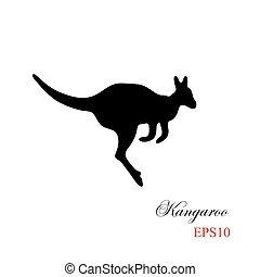 silhouette, kangourou, élément, arrière-plan., noir, conception, blanc