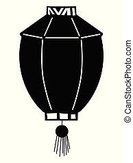 silhouette, lanterne chinoise