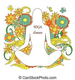 silhouette, lotus pose, fond, floral, yoga, blanc, girl