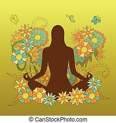 silhouette, lotus pose, fond, floral, yoga, girl, carte