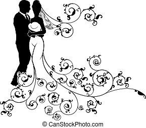silhouette, mariage, mariée, palefrenier, couple