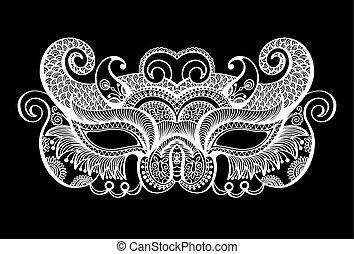 silhouette, masque carnaval, vénitien, noir, lineart