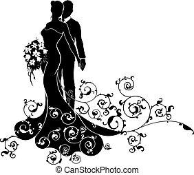 silhouette, modèle, palefrenier, mariée, robede mariée