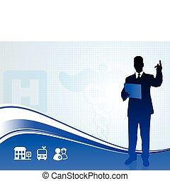 silhouette, monde médical, orateur, fond, rapport, public