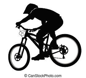 silhouette, montagne, fait course vélo, --, pente