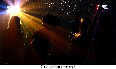 silhouette, mouvement, danse, sexy, lent, projecteur, club, danseurs, paire, danse