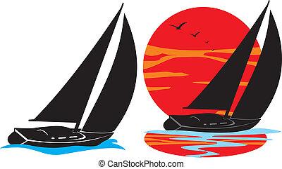 silhouette, nautisme, -, yachts, sous