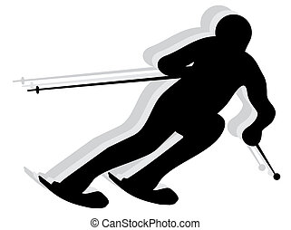 silhouette, neige, skieur