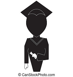 silhouette, noir, backround, icône, blanc, education, remise de diplomes