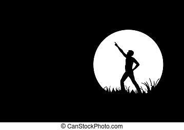 silhouette, noir, liberté, gens