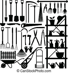 silhouette, outils jardinage