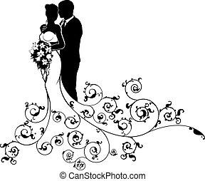 silhouette, palefrenier, mariée, couple, résumé, mariage