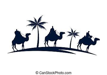 silhouette, paumes, mangers, groupe, chameaux, caractères, hommes, sage