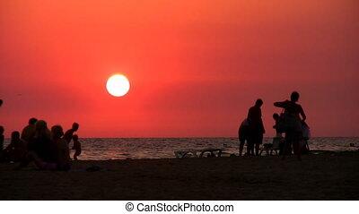 silhouette, plage, gens