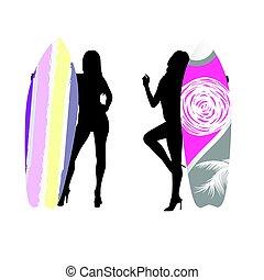 silhouette, planche surf, couleur, illustration, main, girl