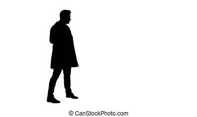 silhouette, point, docteur médical, arrière-plan., présentation, professionnel, confection, homme, geste, quelque chose
