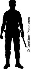 silhouette, police, policier, officer., isolé, image.