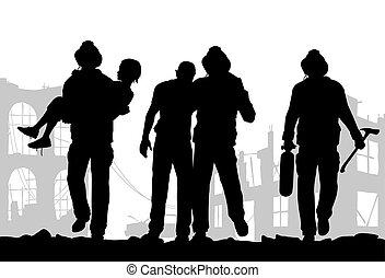 silhouette, pompiers