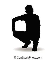 silhouette, poser, illustration, homme