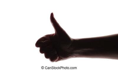 silhouette, pouce, donner, femme, haut, main, arrière-plan., blanc
