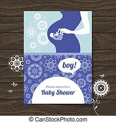 silhouette, pregnant, douche, invitation, bébé, mother.