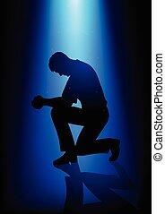 silhouette, prière