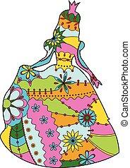 silhouette, princesse, coloré