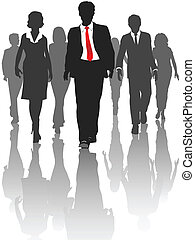 silhouette, professionnels, promenade, ressources humaines