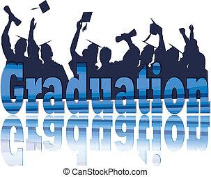 silhouette, remise de diplomes, célébration