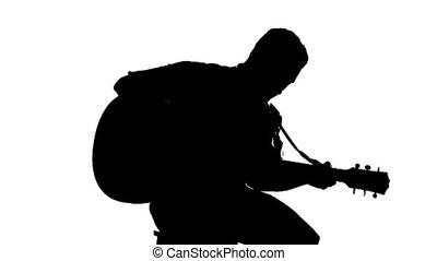 silhouette, séance, guitare, fond, blanc, jouer, homme
