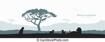 silhouette, savane, affiche, voyage, afrique, lion, animals., pride., noir, africaine, sauvage, wildlife., scène, paysage