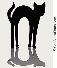 silhouette, simple, logotype, isolé, chat, arrière-plan noir, miroir, blanc, dessin animé