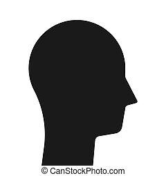 silhouette, simple, tête, noir
