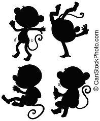 silhouette, singe, ensemble