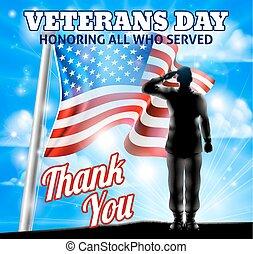 silhouette, soldat, américain, jour vétérans, saluer, drapeau