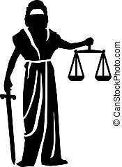 silhouette, statue, justitia