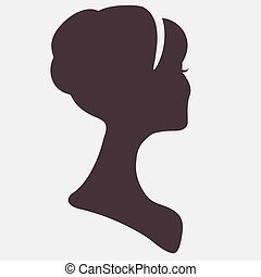 silhouette, tête, beau, coiffure, femme, élégant