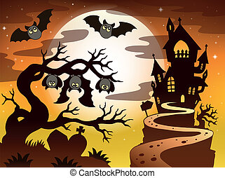 silhouette, thème, 2, halloween