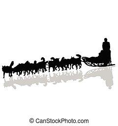 silhouette, traîneau, vecteur, noir, traction, chiens