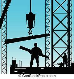 silhouette, travail, ouvrier, illustration, vecteur, constuction