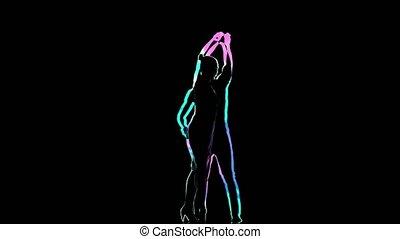 silhouette, travaillé, danseurs, informatique, arrière-plan noir, graphiques