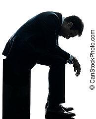 silhouette, triste, songeur, séance, homme, business
