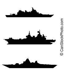 silhouette, trois, navire guerre