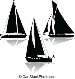 silhouette, trois, voile, yachts