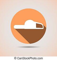 silhouette, tronçonneuse, construction, fond, orange, icône