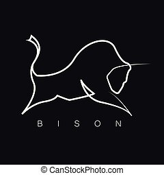 silhouette, une, ligne, conception, bison, logo