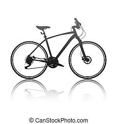 silhouette, vélo, hybride