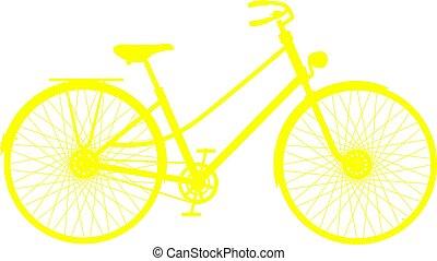 silhouette, vélo, retro, jaune
